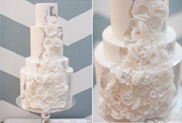 New Year's Eve wedding cake with silver leaf by Hey There Cupcake