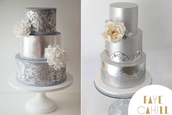 New Year's Eve wedding cakes by Arianna Lauren Cakes left, Faye Cahill right