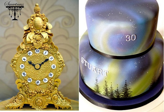 clock by Sweetness, India; Northern Lights cake by The Chocolate Strawberry