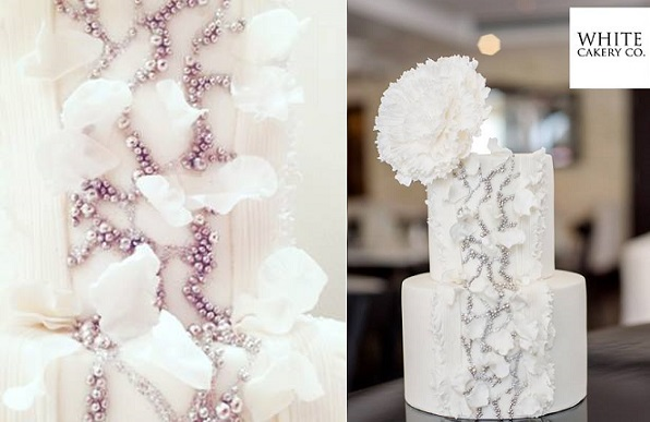 beaded winter wedding by The White Cakery, Krista Fox Photography