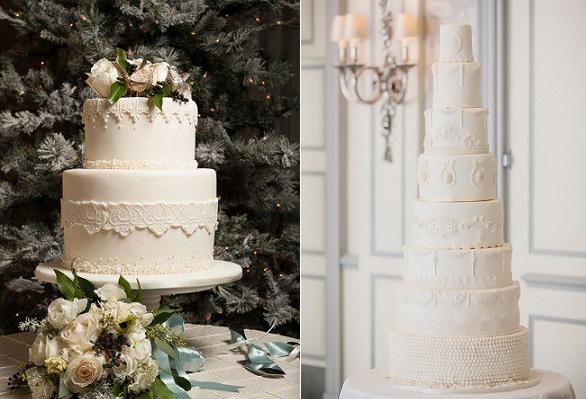christmas wedding cakes by The Graceful Baker, Kristin Wilkerson Photo left, Elizabeth's Cake Emporium, Photography Yemi Osunkoya of Kosibah right