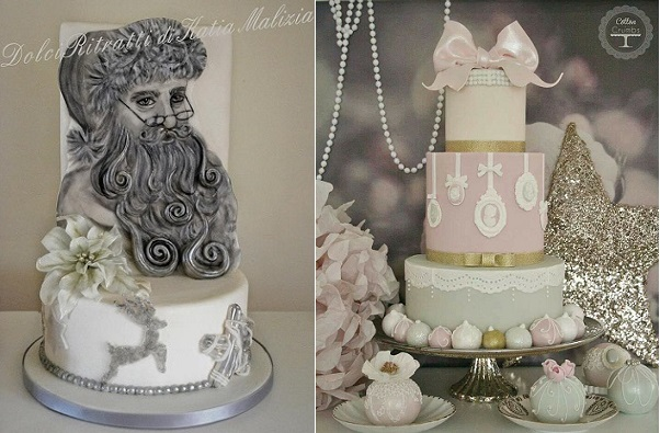 christmas wedding cakes from Dolci Ritratti di Katia Malixia left, Cotton and Crumbs right