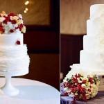 christmas wedding cakes from Megan Joy Cake Design, Ashley Swapp Photo left, The Graceful Baker right