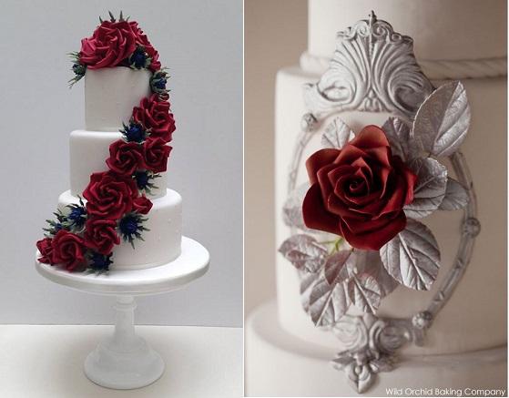christmas wedding cakes from Scrumdiddly UK left, Erin Gardner right