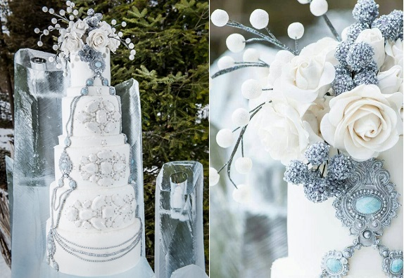 jewelled winter wedding cake, image via The Elegant Wedding blog