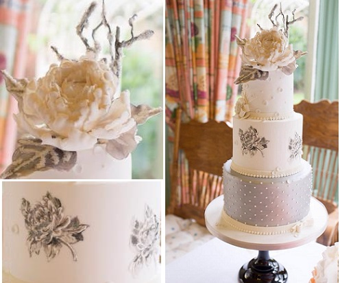 silver and white winter wedding cake by Suzanne Thorpe at The Frostery, UK