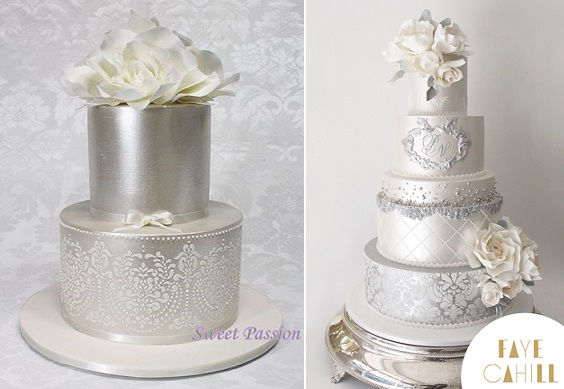 silver wedding cakes by Sweet Passion left, Faye Cahill right