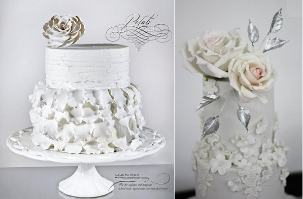 winter wedding cakes by Sugar Bee Sweets left, Sugar Couture Cupcakes & Cakes right