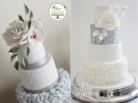 winter wedding cakes by Sugar Couture Cupcakes & Cakes left, Cakes 2 Cupcakes right
