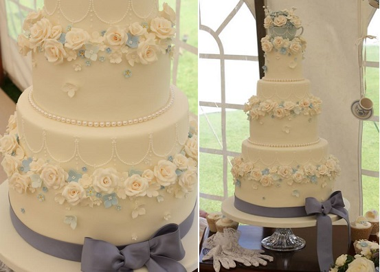 blue flowers wedding cake hydrangea sugar flowers byTiers and Tiaras Wedding Cakes, UK