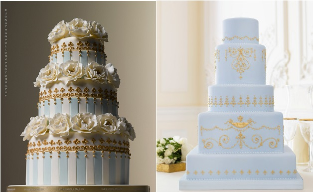 blue wedding cakes with gold by Peggy Porschen left (Jonathan Pollock Phot), The Cake Parlour right