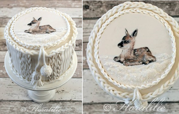 christmas cake knitted design with baby deer by Floralilie