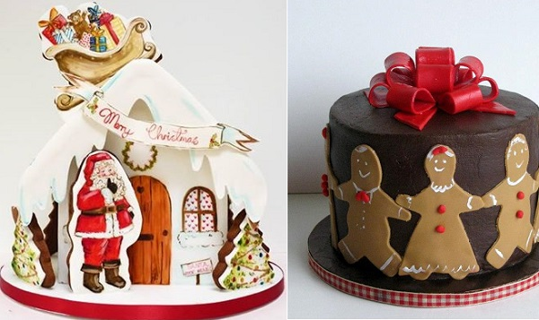 christmas cakes by Nevie Pie left, Madame Gateau Cake Boutique
