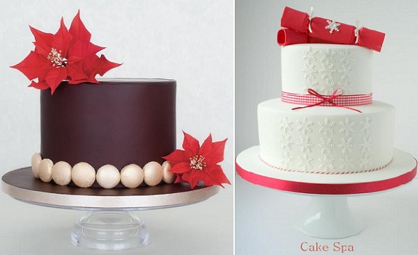 christmas cakes by Susanna Righetto via Cakes & Sugarcraft Mag left, The Cake Spa UK right