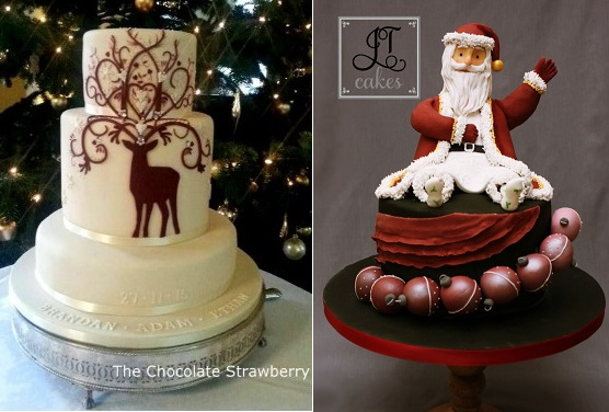 christmas cakes by The Chocolate Strawberry left, JT Cakes right