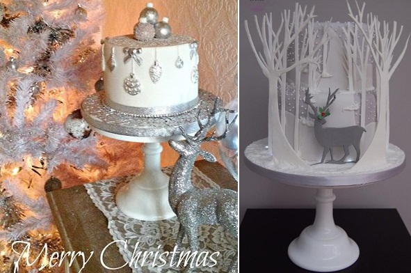 christmas cakes silver by Pearls & Lace Cakes left, Deb Williams Cakes right