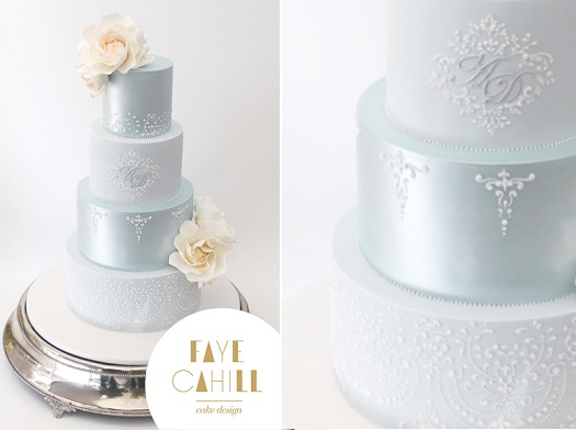 pale blue wedding cake by Faye Cahill Cake Design