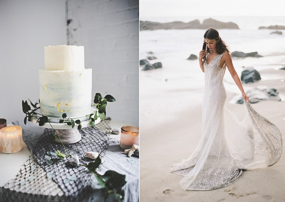 coastal wedding cake Compass Rose Photography, image right Ishani Gowri Photography, Houghton Bride gown