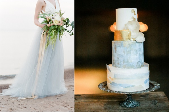 coastal wedding cake by Hey There Cupcake left, image rightTamara Gruner Photography via Wedding Sparrow