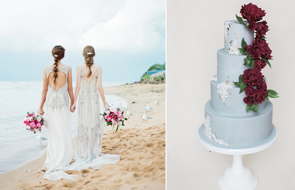 coastal wedding cake by Laugh Love Cakes, Brittany Mahood Photography left, image right by Love Note Photography