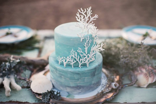 coastal wedding cake with coral for beach wedding by Sweet On You Designer Cups & Cakes, White Willow Photography