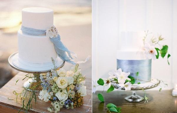 coastal wedding cakes by De La Rosa Cupcakes, Katie Grant Photography left, cake by Fleur de Lisa, Coco Tran Photography via Style Me Pretty