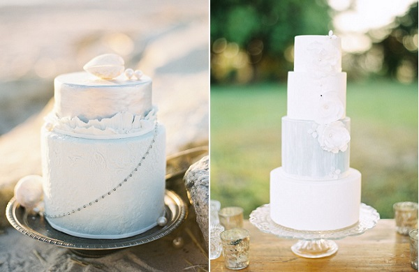 coastal wedding cakes by Nine Cakes, Judy Pak Photography left, Hey There Cupcake via Style Me Pretty right