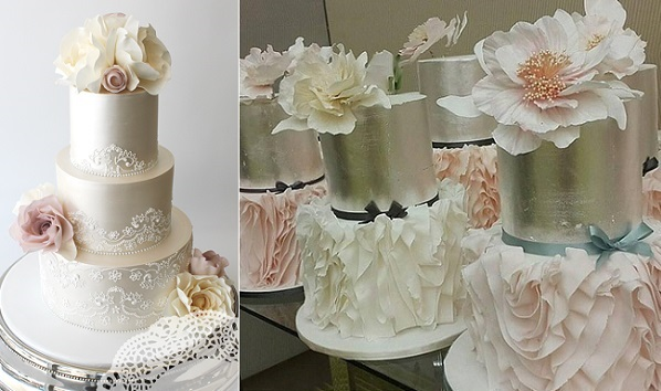 dusky pink roses wedding cake, watercolour flowers from Faye Cahill Design left, Patricia Hardjopranoto class at Just Cake Events right