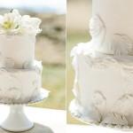 feather wedding cake for boho bride by Megan Joy Cakes, Cara Leonard Photography