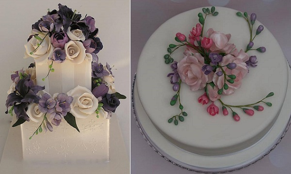 freesia wedding cake in purples and lavenders by Cakesalouisa left, by Bronte Bakes right
