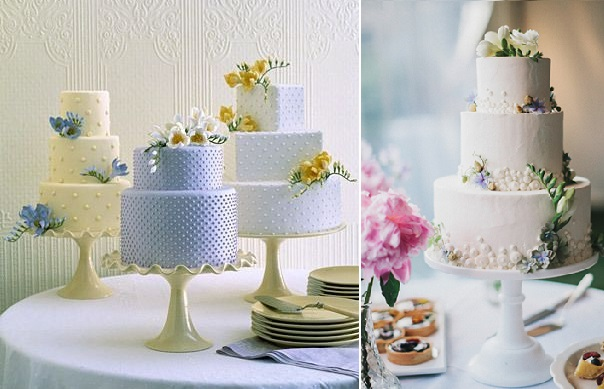 freesia wedding cake left from Martha Stewart.com, cake right by Roberta's, Lev Kuperman Photography