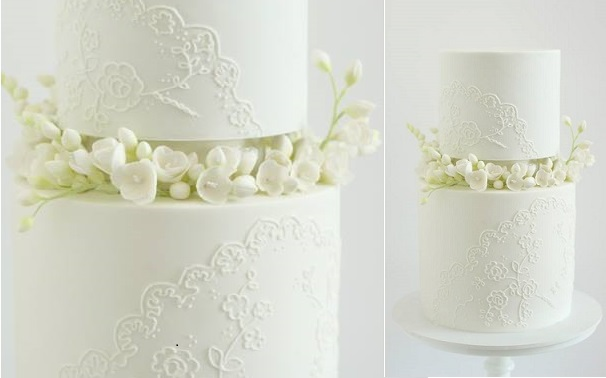 piped lace wedding cake with sugar freesias by Hello Naomi cake