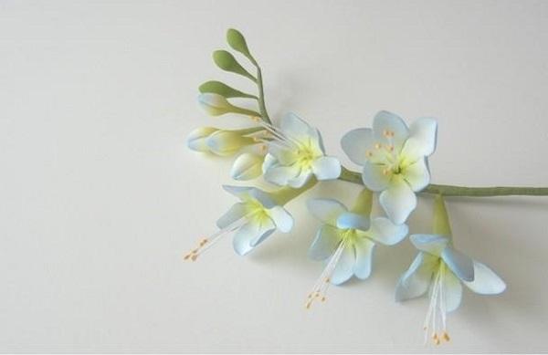 gumpaste freesia flowers in soft blue by Petalsweet