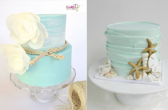 seafoam green wedding cakes for beach wedding by Sweet P Cakes & Cookies left, The Cake Whisperer right