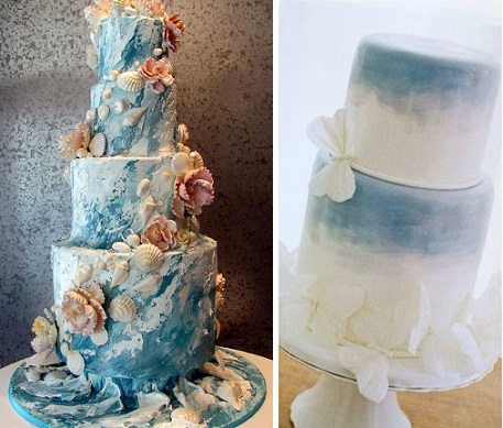 seashore wedding cake by Rosebud Cakes left, right by A Cake Life, Hawaii via Pacific Weddings