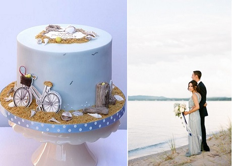 seaside wedding cake by Just Because Cakes left, image right Cory Weber Photography via Wedding Sparrow