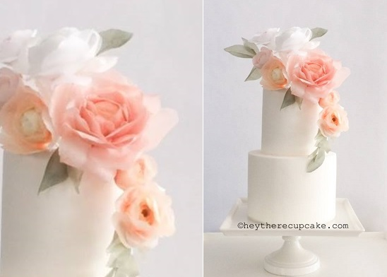 wafer paper flowers in watercolours by Hey There Cupcake