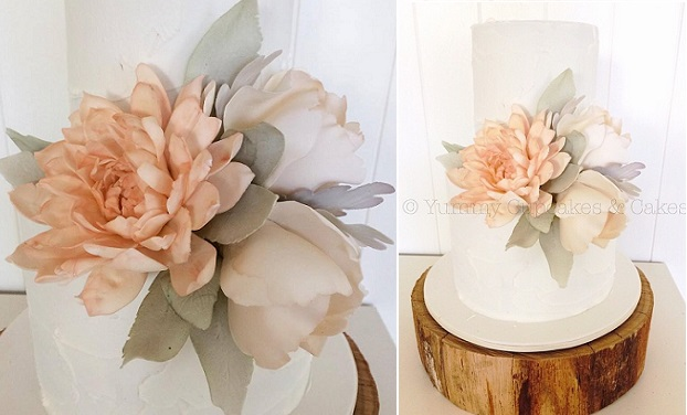 watercolour dahlia wedding cake by Yummy Cupcakes & Cakes