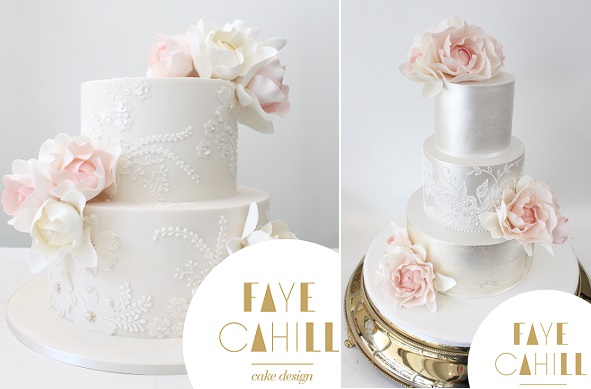 watercolour roses and peony sugar flowers by Faye Cahill Cake Design