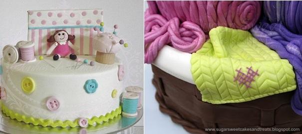 Craft cakes by Sonhos de Encantar Bolos Decorados left, Sugar Sweets Cakes and Treats knitting basket tutorial right