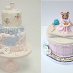 Craft cakes for crafters with knitting and sewing details by Emma Jayne Cake Design left, The Cake Mamas right