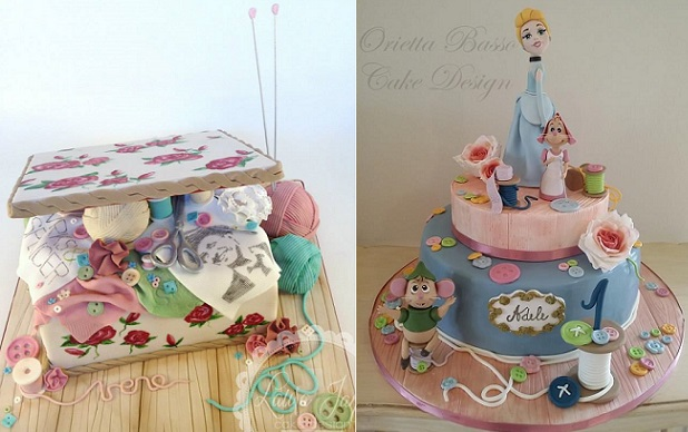 Craft cakes knitting and sewing by Laura Jane Cake Design left, Orietta Basso Cake Design right