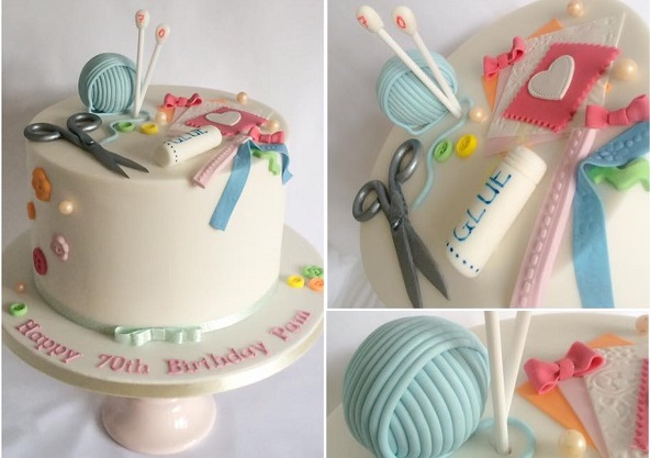 Knitting cake for a crafter's birthday by Mrs Bakes of Gossport