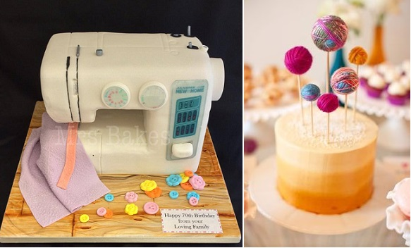 sewing machine cake by Mrs. Bakes of Gossport left, balls of wool cake toppers cake by Handmade Charlotte right