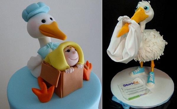 Stork baby cake toppers by Sugar Allure, AU (left) and by Debbie Goard (right).