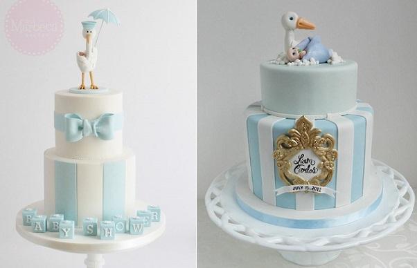 Stork cake baby shower cakes by The Marbeca Bakery left, The Cake Whisperer right.