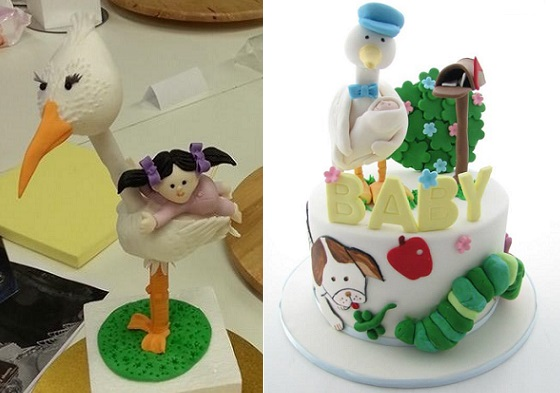 Stork cake topper by My Cake Delights AU (left) stork cake right by Aimeejane Cake Designs