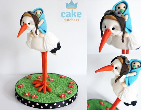 Stork cake topper by The Cake Dutchess