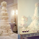ing cake with sugar flowers by Langs of London left, Peggy Porschen right