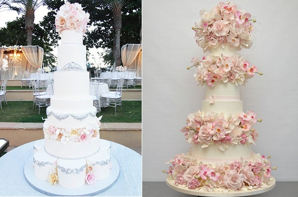 formal wedding cakes with pink florals by Goumelicious AE left, Sylvia Weinstock right